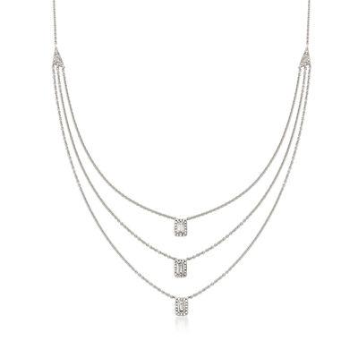 .43 ct. t.w. Diamond Triple-Strand Drop Necklace 18kt White Gold, , default