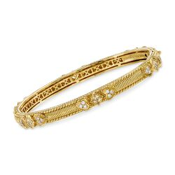 "Judith Ripka ""Berge"" Rock Crystal and .48 ct. t.w. Diamond Bangle Bracelet in 18kt Yellow Gold. 7"", , default"