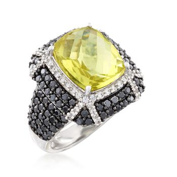 5.75 Carat Lemon Quartz and 2.30 ct. t.w. Black Spinel Ring With White Zircons in Sterling Silver, , default