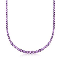 "14.20 ct. t.w. Graduated Amethyst Necklace in Sterling Silver. 18"", , default"