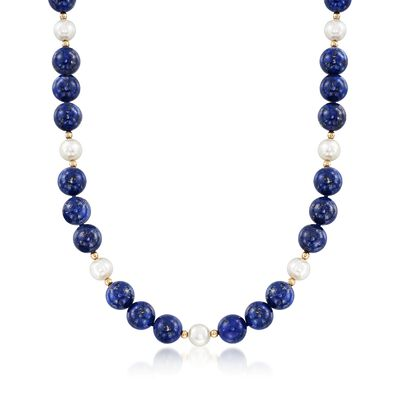 8-8.5mm Cultured Freshwater Pearl and Lapis Bead Necklace in 14kt Yellow Gold , , default