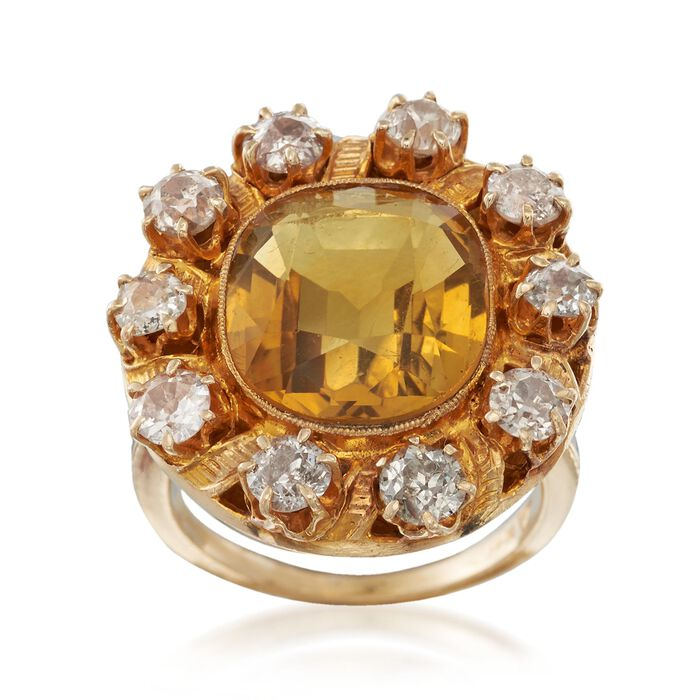 C. 1900 Vintage 6.00 Carat Citrine and 1.80 ct. t.w. Diamond Ring in 14kt Yellow Gold. Size 5.75