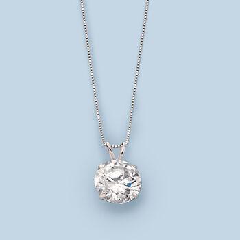 4.00 Carat CZ Solitaire Necklace in 14kt White Gold, , default