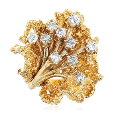 C. 1970 Vintage .65 ct. t.w. Diamond Flower Ring in 14kt Yellow Gold, , default