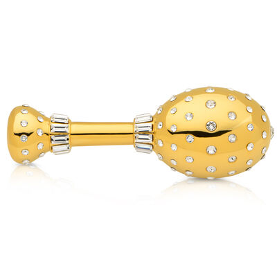 Crystamas Swarovski Crystal 24kt Gold-Plated Baby Rattle