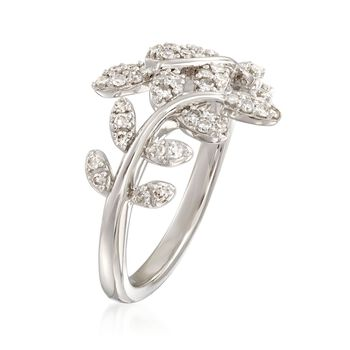 .33 ct. t.w. Diamond Laurel Leaf Bypass Ring in Sterling Silver, , default