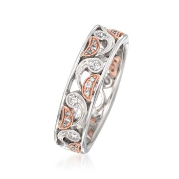 Simon G. .29 ct. t.w. Diamond Paisley Ring in 18kt Two-Tone Gold. Size 7, , default