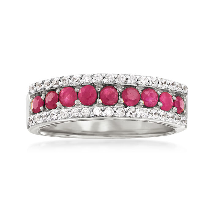 1.30 ct. t.w. Ruby and .30 ct. t.w. White Zircon Ring in Sterling Silver, , default