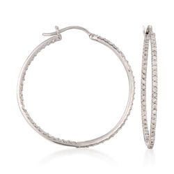 "1.05 ct. t.w. Diamond Inside-Outside Hoop Earrings in Sterling Silver. 1 1/4"", , default"