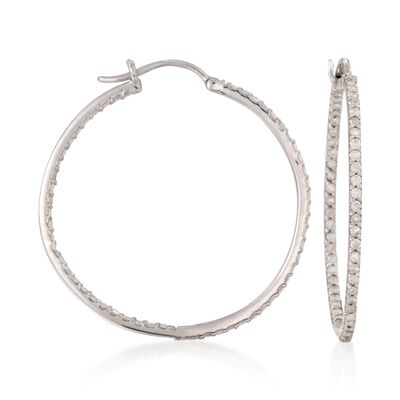 1.05 ct. t.w. Diamond Inside-Outside Hoop Earrings in Sterling Silver, , default