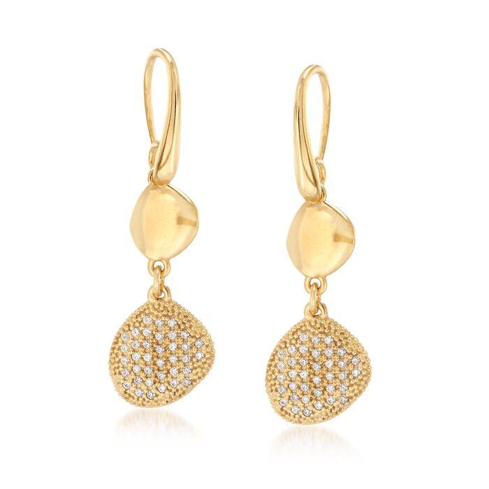 Italian .75 ct. t.w. CZ Free-Form Drop Earrings in 18kt Gold Over Sterling