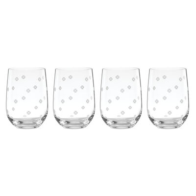 "Kate Spade New York ""Spade Clover"" Set of 4 Stemless Wine Glasses"