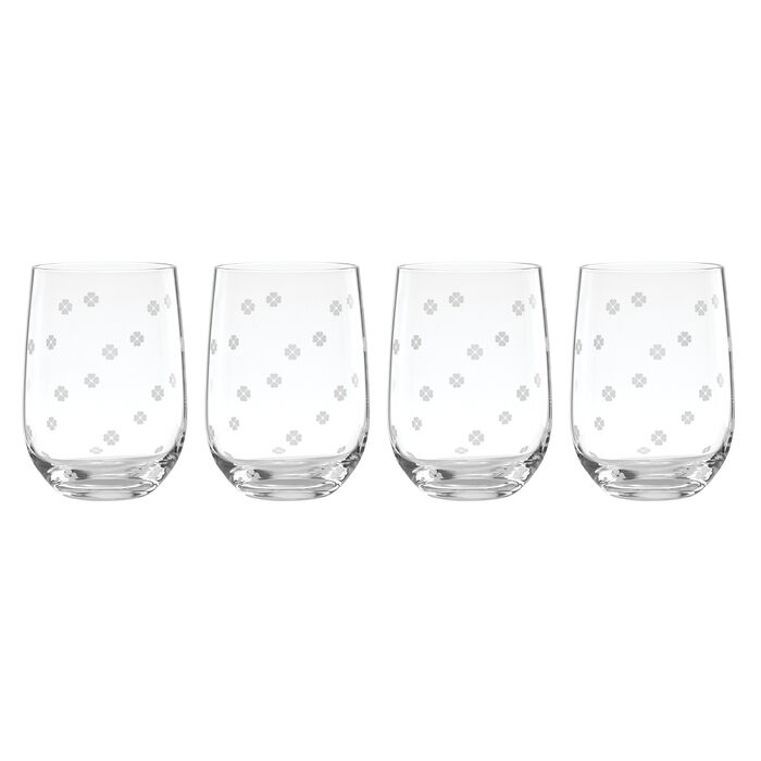 "Kate Spade New York ""Spade Clover"" Set of 4 Stemless Wine Glasses"