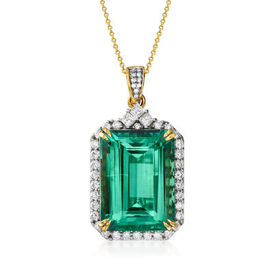 57.00 Carat Green Tourmaline and 2.49 ct. t.w. Diamond Pendant Necklace in 18kt Yellow Gold