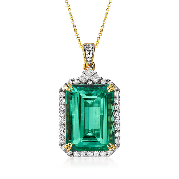 """57.00 Carat Green Tourmaline and 2.49 ct. t.w. Diamond Pendant Necklace in 18kt Yellow Gold. 18"""", , default"""