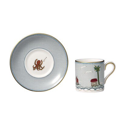 "Kit Kemp for Wedgwood ""Sailor's Farewell"" Espresso Cup with Saucer"
