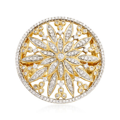 .50 ct. t.w. Diamond Floral Circle Ring in 14kt Yellow Gold, , default