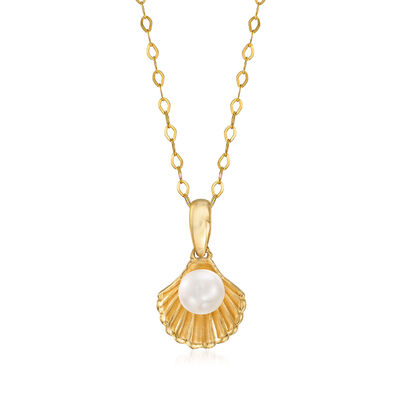 Child's Disney 4-4.5mm Cultured Pearl Shell Pendant Necklace in 14kt Yellow Gold, , default