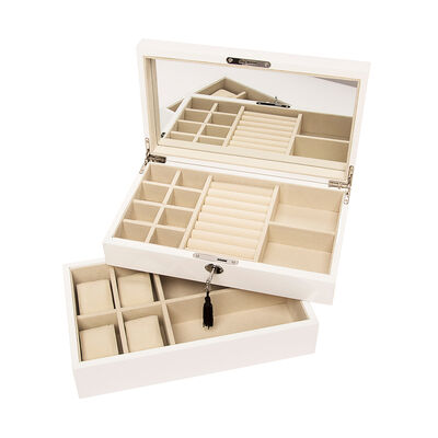 Brouk & Co. White Stackable Wooden Jewelry Box and Watch Tray, , default