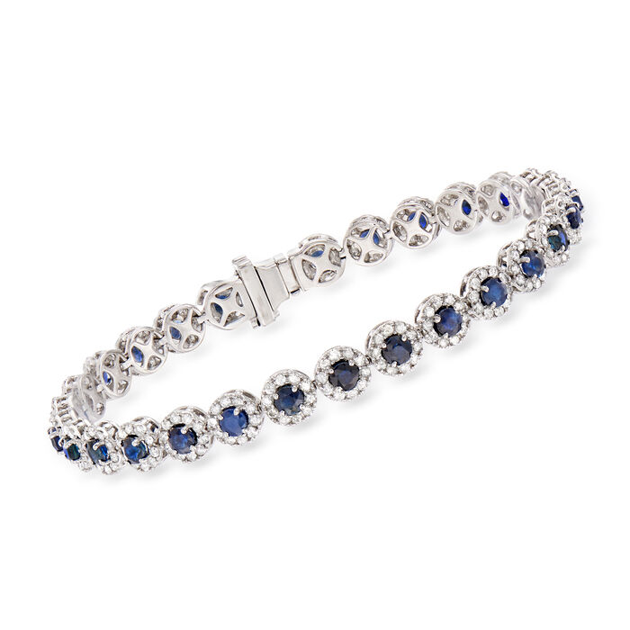 5.50 ct. t.w. Sapphire and 3.00 ct. t.w. Diamond Tennis Bracelet in 14kt White Gold, , default