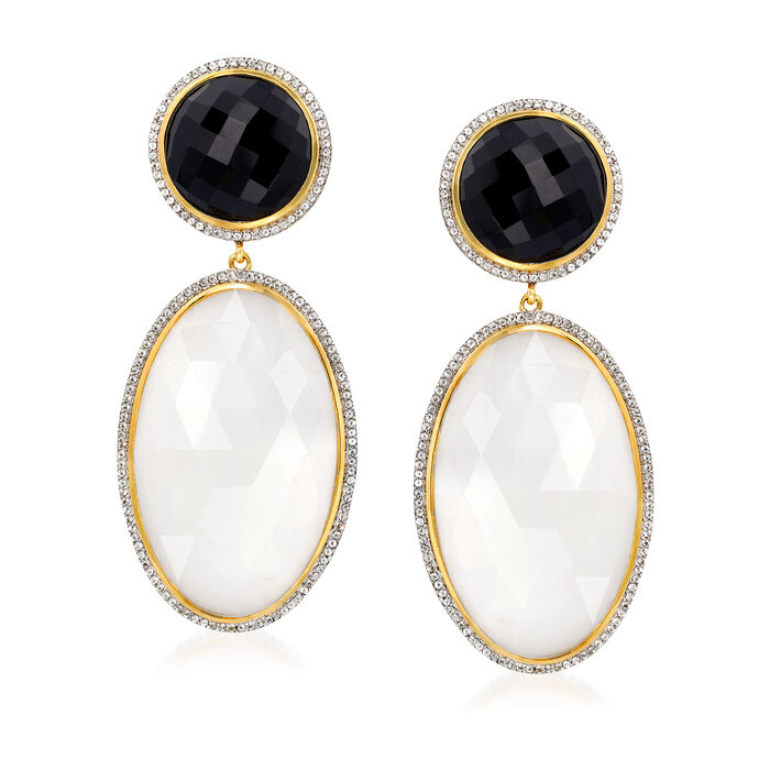 White Agate, Black Onyx and 2.10 ct. t.w. White Topaz Drop Earrings in 18kt Gold Over Sterling, , default
