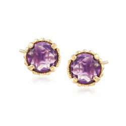 Italian .70 ct. t.w. Amethyst Stud Earrings in 14kt Yellow Gold, , default