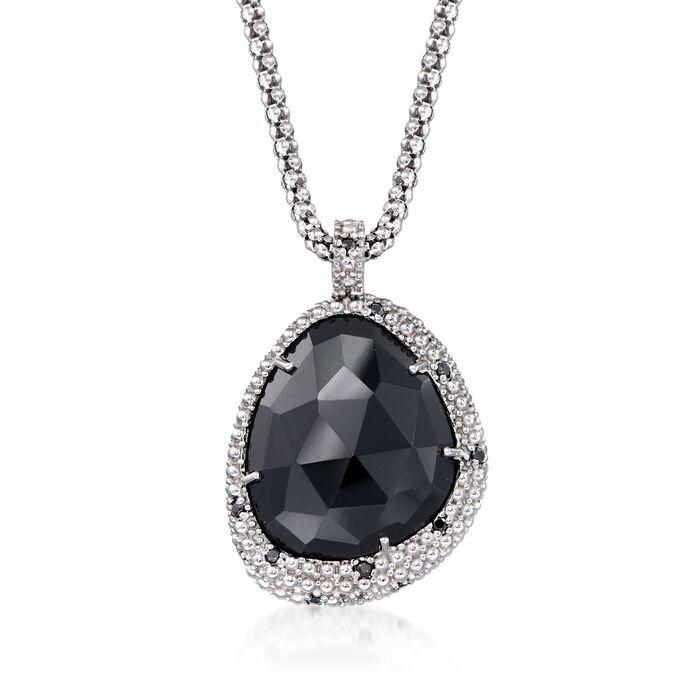 "Phillip Gavriel ""Popcorn"" Black Onyx and Black Spinel Pendant Necklace in Sterling Silver"