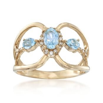 .80 ct. t.w. Blue Topaz and .15 ct. t.w. Diamond Ring in 14kt Yellow Gold, , default