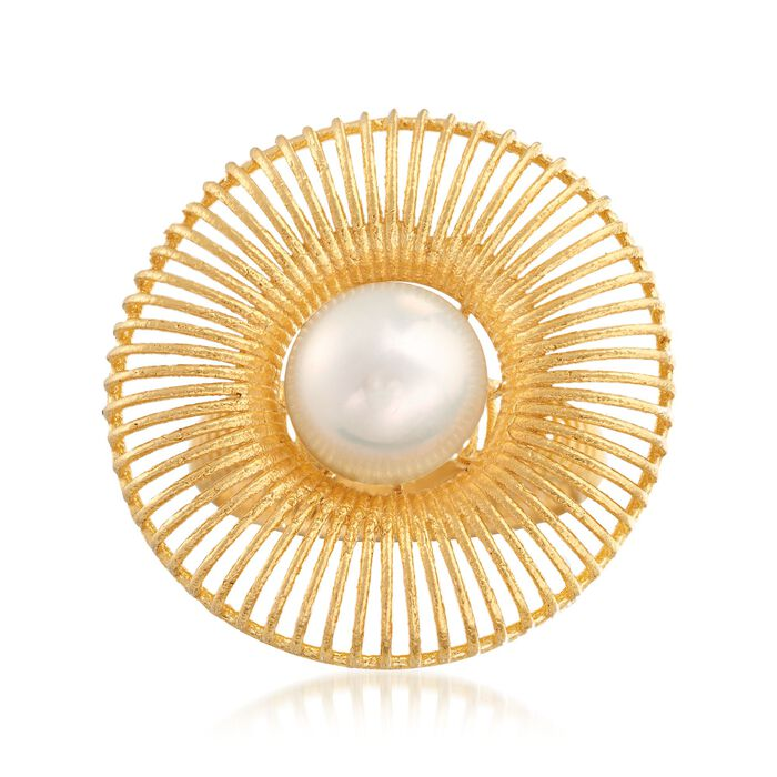 9.5-10mm Cultured Pearl Burst Ring in 18kt Yellow Gold Over Sterling Silver, , default