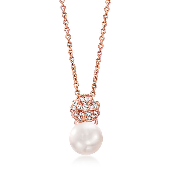 "Mikimoto ""Cherry Blossom"" 8mm A+ Akoya Pearl and .11 ct. t.w. Diamond Pendant Necklace in 18kt Rose Gold"