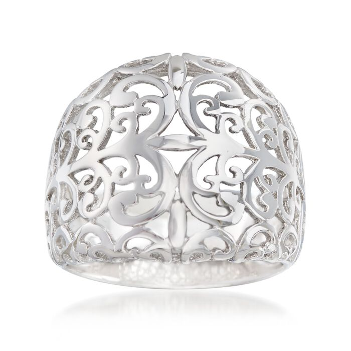 Sterling Silver Openwork Dome Ring, , default