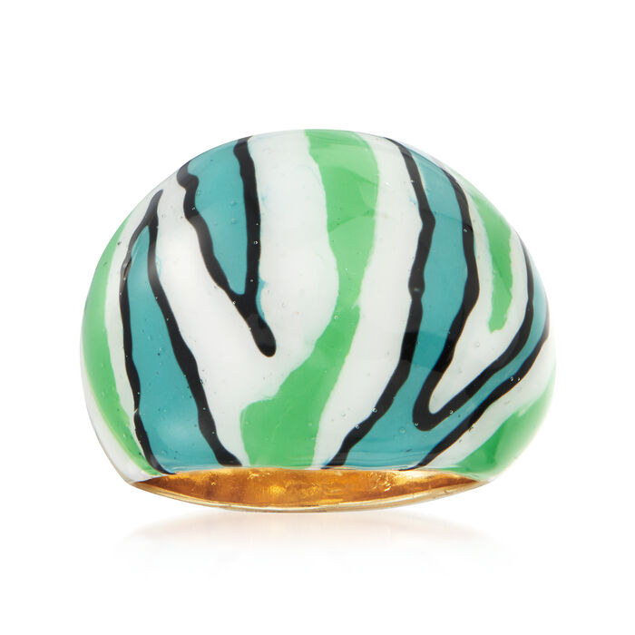 Italian Multicolored Enamel Dome Ring in 18kt Gold Over Sterling