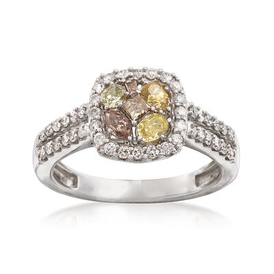 1.00 ct. t.w. Yellow, Cognac, Green and White Diamond Ring in 14kt White Gold, , default