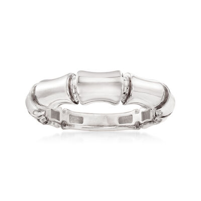 Italian Bamboo Ring in 18kt White Gold, , default