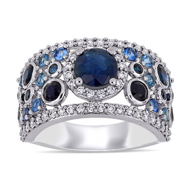 2.66 ct. t.w. Sapphire and .54 ct. t.w. Diamond Cluster Ring in 14kt White Gold