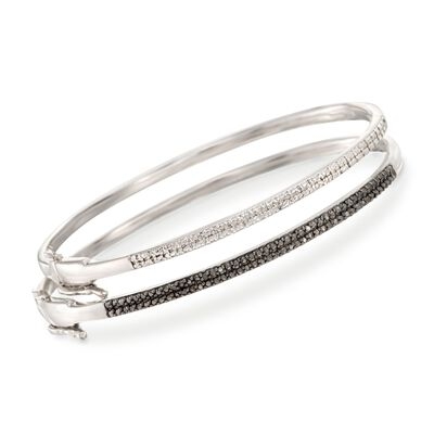 .33 ct. t.w. Black and White Diamond Jewelry Set: Two Bangle Bracelets in Sterling Silver, , default