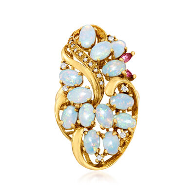C. 1970. Opal, .19 ct. t.w. Ruby and .13 ct. t.w. Diamond Cluster Ring in 18kt Yellow Gold, , default
