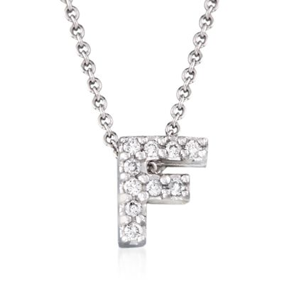 "Roberto Coin ""Love Letter"" Diamond Accent Initial ""F"" Necklace in 18kt White Gold, , default"