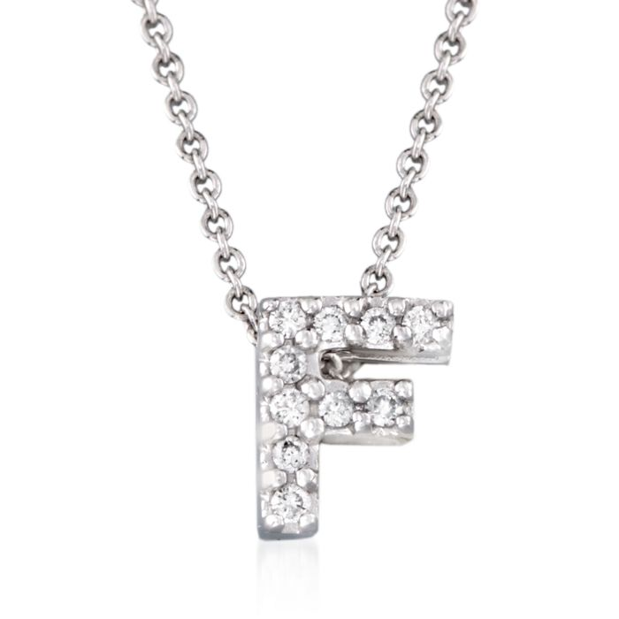 """Roberto Coin """"Love Letter"""" Diamond Accent Initial """"F"""" Necklace in 18kt White Gold"""