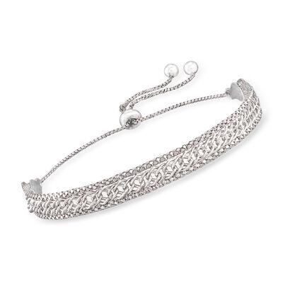 Italian Sterling Silver Multi-Link Bolo Bracelet, , default