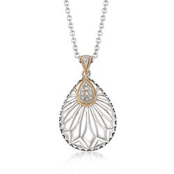 "Andrea Candela .13 ct. t.w. Diamond Openwork Teardrop Pendant Necklace in Sterling Silver and 18kt Gold. 17"", , default"