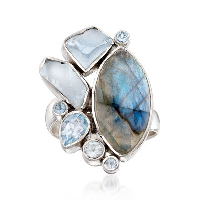 Labradorite and 2.39 ct. t.w. Blue Topaz Free-Form Ring in Sterling Silver, , default