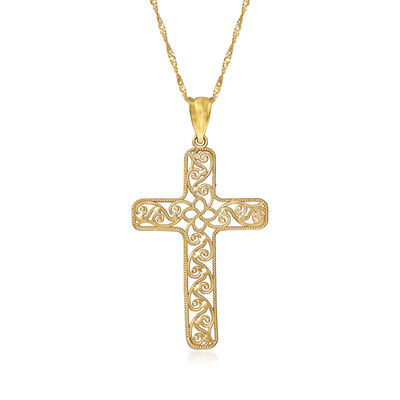 14kt Yellow Gold Filigree Cross Pendant Necklace, , default