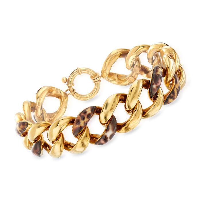 Italian Leopard-Print Enamel Link Bracelet in 14kt Yellow Gold