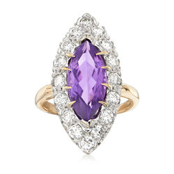 C. 1970 Vintage 2.65 Carat Amethyst and 1.50 ct. t.w. Diamond Ring in 14kt Yellow Gold, , default