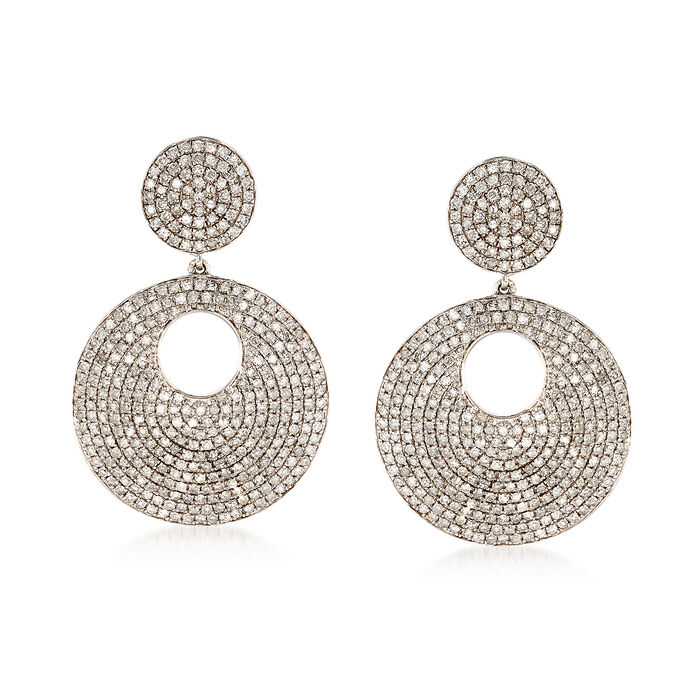 3.00 ct. t.w. Pave Diamond Double Disc Drop Earrings in 14kt White Gold, , default