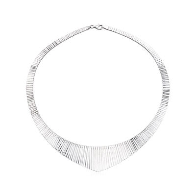 Italian Sterling Silver V-Shape Omega Necklace, , default