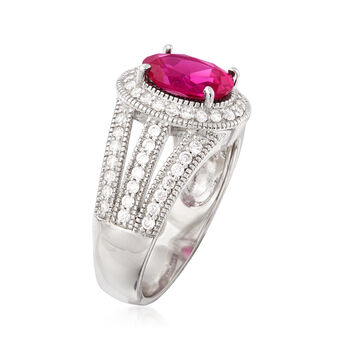 1.90 Carat Simulated Ruby and .64 ct. t.w. CZ Ring in Sterling Silver