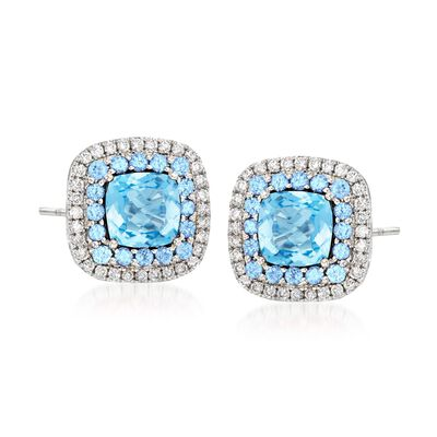 Gregg Ruth 3.20 ct. t.w. Blue Topaz and .31 ct. t.w. Diamond Earrings in 18kt White Gold, , default