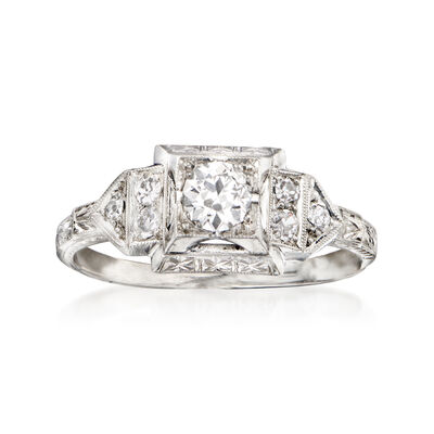 C. 1950 Vintage .53 ct. t.w. Diamond Ring in Platinum